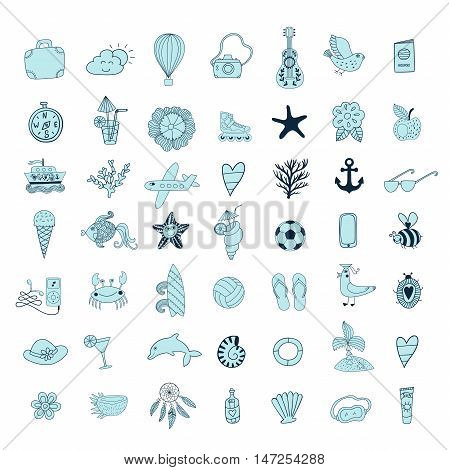 Summer set icons, summer beach hand drawn vector elements and objects, travel vacation doodle symbols.
