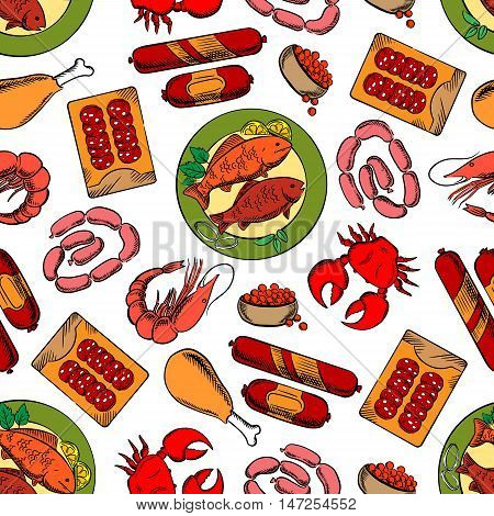 Gastronomy seamless background. Wallpaper with vector pattern of sausages, seafood, crab, lobster, caviar, chicken leg