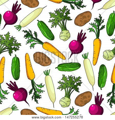 Vegetables seamless background. Vector pattern of farm cucumber, carrot, potato, beet, kohlrabi, radish, Wallpaper for grocery store, food market and product shop, tablecloth
