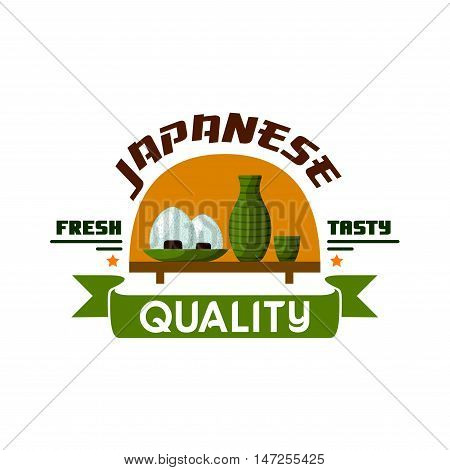 Japanese food restaurant icon. Bowls with sticky rice, sake pitcher and cup on wooden table. Oriental cuisine poster for bar menu, signboard, leaflet, flyer