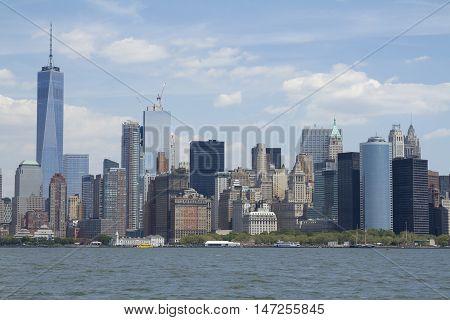 New York City: View Of Lower Manhattan Skyline With One World Trade Center