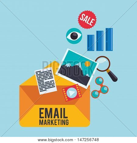 envelope picture eye sale and lupe icon. Email marketing message communication and media theme. Colorful design. Vector illustration