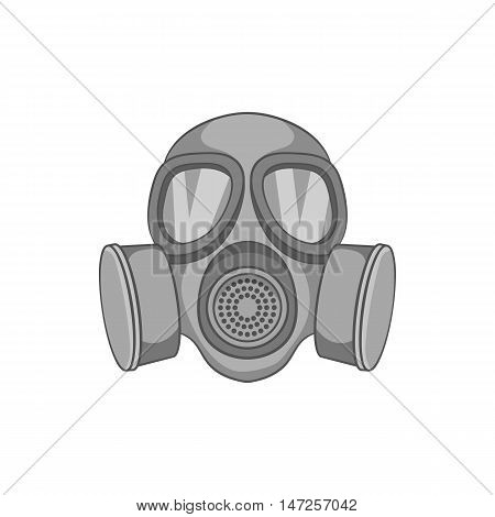 Gas mask icon in black monochrome style isolated on white background. Protection symbol vector illustration