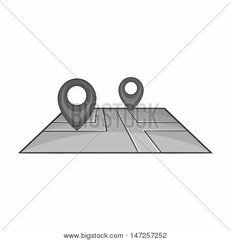 GPS marks on map icon in black monochrome style isolated on white background. Road symbol vector illustration