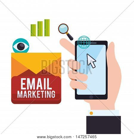 Smartphone lupe eye and envelope icon. Email marketing message communication and media theme. Colorful design. Vector illustration