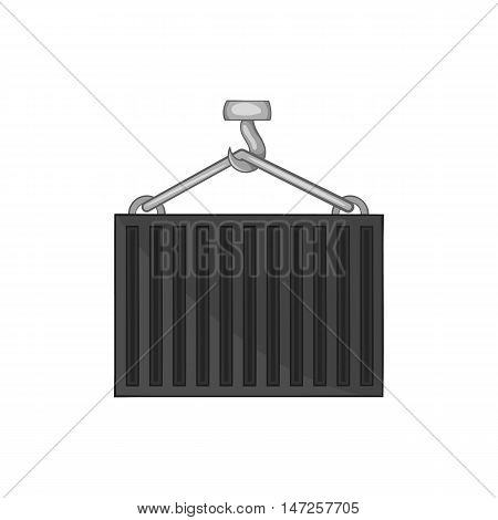 Hook lifts wagon icon in black monochrome style isolated on white background. Cargo delivery symbol vector illustration