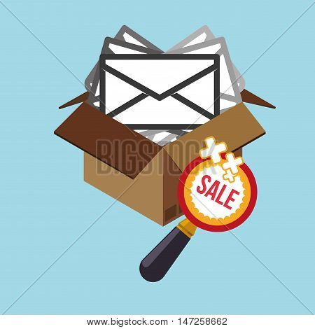 Carton box lupe and envelope icon. Email marketing message communication and media theme. Colorful design. Vector illustration