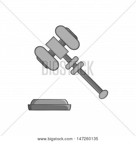 Judges gavel icon in black monochrome style isolated on white background. Blow symbol vector illustration