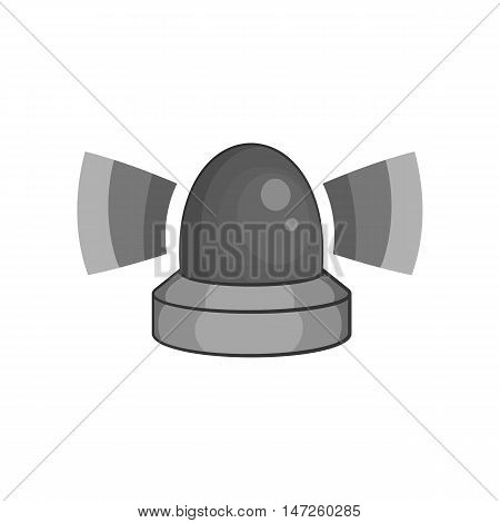 Police siren icon in black monochrome style isolated on white background. Equipment symbol vector illustration