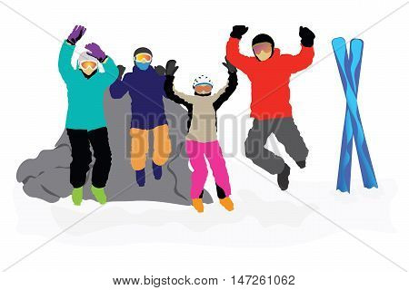 Four happy skiers jumping in the air with excitement
