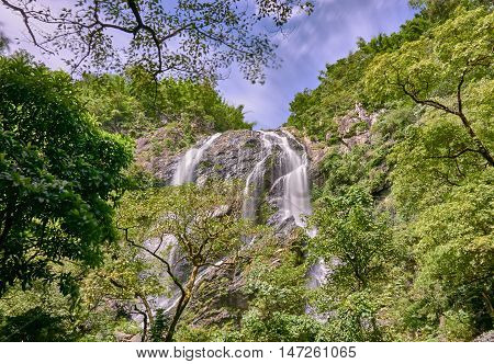 waterfall in the tropical rain forest. Khong Lan waterfall, Thailand