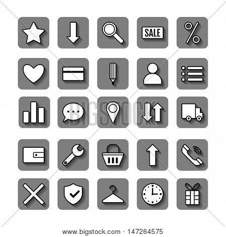 Icon set e-Commerce. Flat linear design, shopping symbols and elements. Vector illustration
