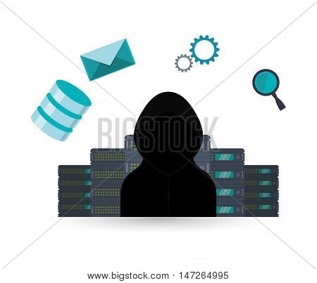 Hacker envelope lupe and gears icon. Cyber security system and media theme. Colorful design. Vector illustration