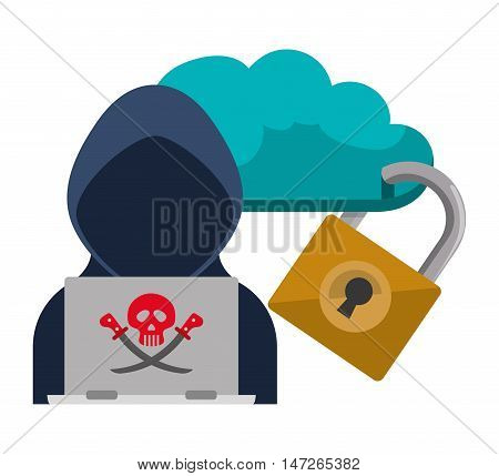 Cloud hacker laptop and padlock Cyber security system and media theme. Colorful design. Vector illustration