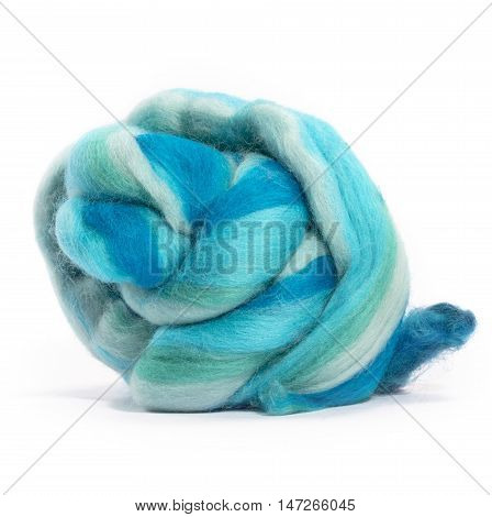 Hank merino wool turquoise color on a white background