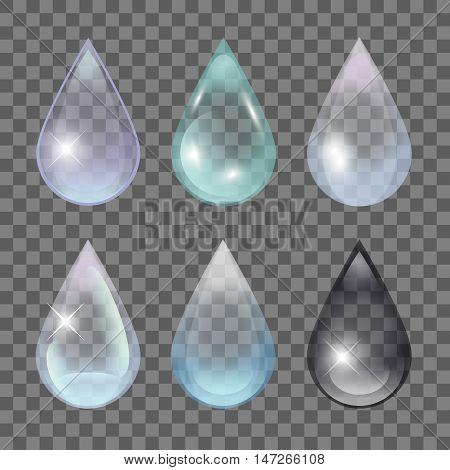 Transparent Water Drops. Rain droplet set. Vector EPS 10