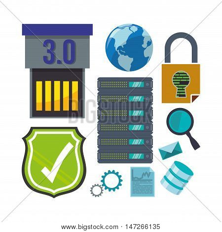 Shield padlock lupe planet and icon set. Cyber security system and media theme. Colorful design. Vector illustration