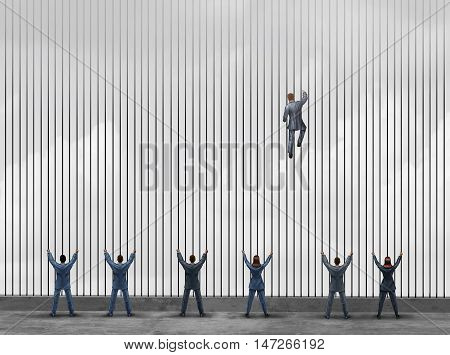 Obstacle to opportunity concept as a group of people as businessmen and businesswomen locked behind prison bars with one individual smart business leader using clever innovative thinking to climb the jail to freedom with 3D illustration elements.