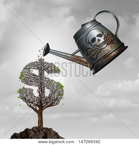 Investment fraud or toxic assets investing concept as a watering can with poison watering a sick dollar or money tree as a financial corruption and fraudulent problem metaphor with 3D illustration elements.