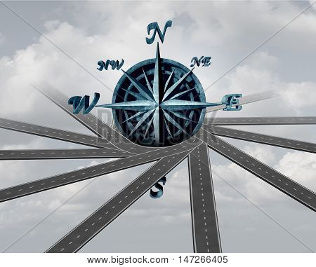 Decide on direction and path choice concept as a wind rose compass wrapped with roads as a navigation and transport symbol or career business guidance icon as a 3D illustration.