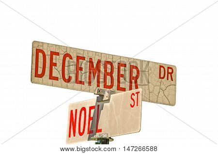 Intersection of December Drive and Noel Street with fabulous textures and red letters