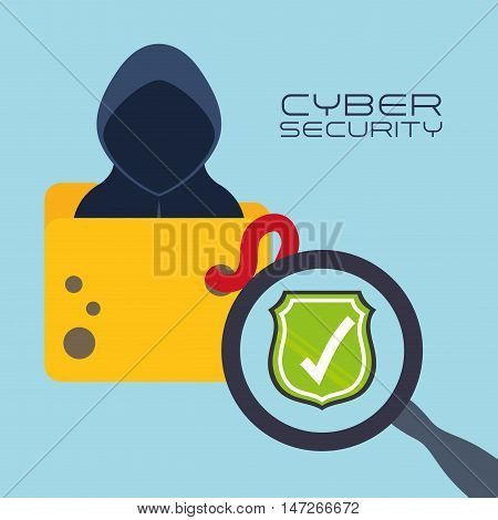 Hacker lupe shield and file icon. Cyber security system and media theme. Colorful design. Vector illustration
