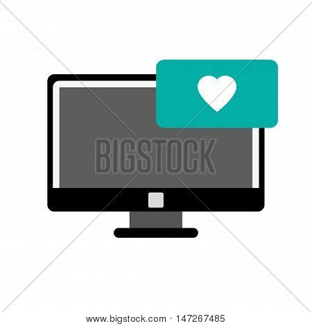 flat design computer and heart notification icon vector illustration