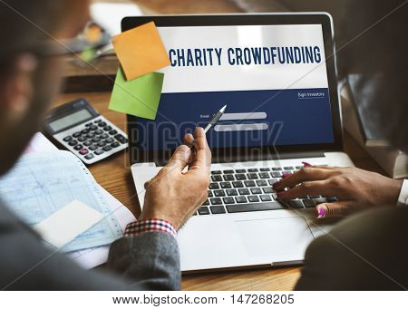Charity Crowd funding Financial Supporters Concept