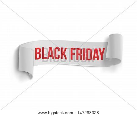 Illustration of Black Friday Sale Curved Ribbon Banner Template. Realistic Folded Paper Ribbon Big Sale Banner White Icon Isolated on White Background