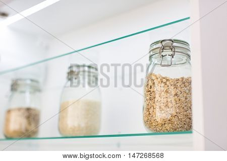 Oats in a jar in a modern kitchen