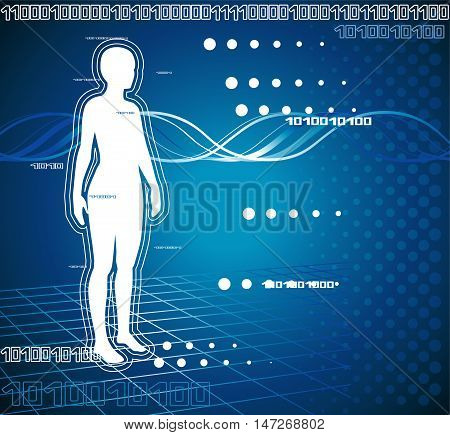 Medical diagnostics. Female silhouette on blue background