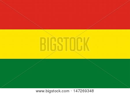 Flag of Bolivia in correct size proportions and colors. Accurate official standard dimensions. Bolivian national flag. Patriotic symbol banner element background. Vector illustration