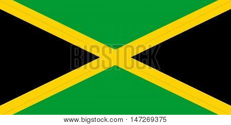 Flag of Jamaica in correct size proportions and colors. Accurate official standard dimensions. Jamaican national flag. Patriotic symbol banner element background. Vector illustration