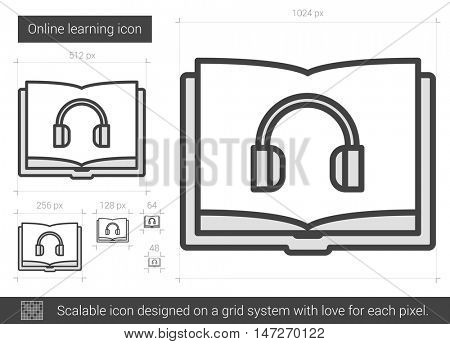 Online learning vector line icon isolated on white background. Online learning line icon for infographic, website or app. Scalable icon designed on a grid system.