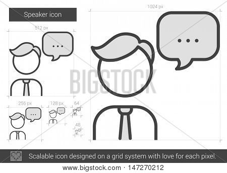 Speaker vector line icon isolated on white background. Speaker line icon for infographic, website or app. Scalable icon designed on a grid system.