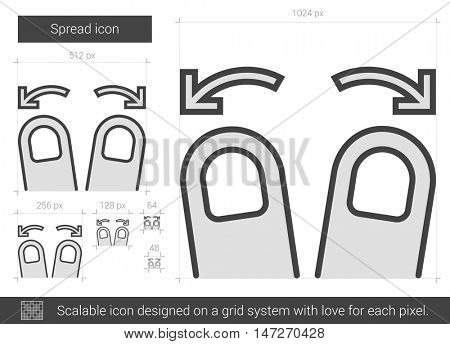 Spread vector line icon isolated on white background. Spread line icon for infographic, website or app. Scalable icon designed on a grid system.