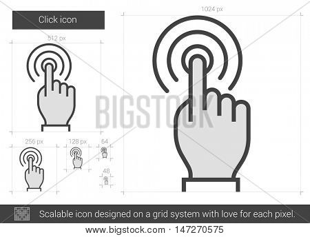 Click vector line icon isolated on white background. Click line icon for infographic, website or app. Scalable icon designed on a grid system.