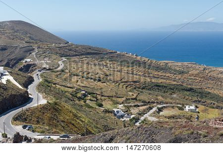 Greece Santorini island in Cyclades Panoramic top view of road in mountain