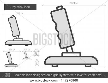 Joy stick vector line icon isolated on white background. Joy stick line icon for infographic, website or app. Scalable icon designed on a grid system.