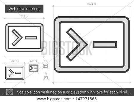 Web development vector line icon isolated on white background. Web development line icon for infographic, website or app. Scalable icon designed on a grid system.
