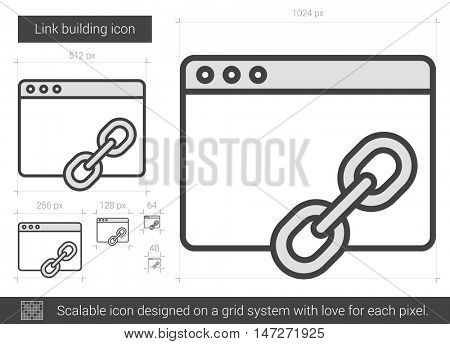 Link building vector line icon isolated on white background. Link building line icon for infographic, website or app. Scalable icon designed on a grid system.