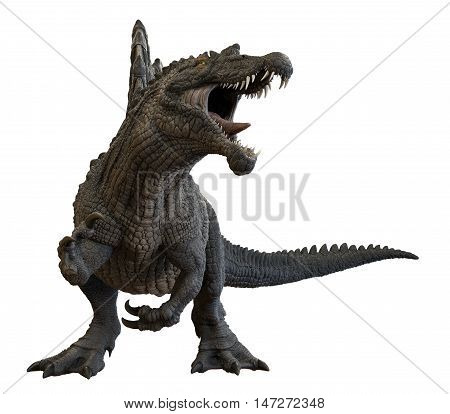 3D rendering of Spinosaurus aegyptiacus roaring, isolated on white background.
