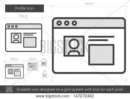 Profile vector line icon isolated on white background. Profile line icon for infographic, website or app. Scalable icon designed on a grid system.