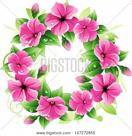 Vector wreath with pink petunias. Floral ornament