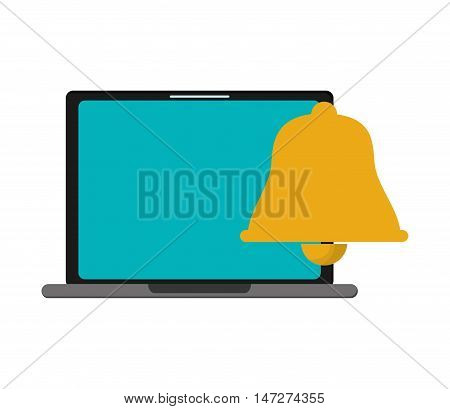 flat design computer and  bell notification icon vector illustration