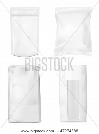 Paper bag for flour tea coffee pasta chips. Vector white soft packing.