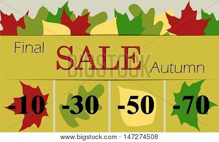 Autumn final sale vector illustration . Flat