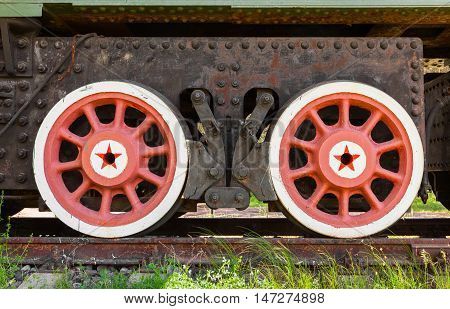 Red Wheels With Stars Of Railway Gun System