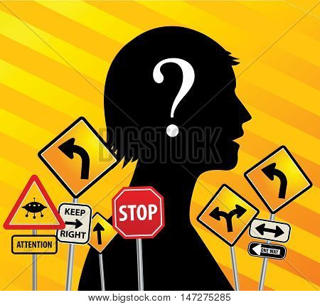 Road signs chaos abstract background, vector illustration