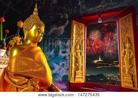 Beautiful big pagoda with Phra Nakhon Khiri on firework at Phetchaburi Province Thailand